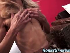 Rod jerking granny facial